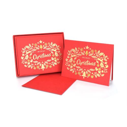 Merry Christmas Red Note Cards Set o