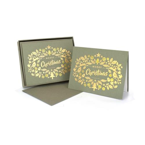 Merry Christmas Silver Note Cards Set