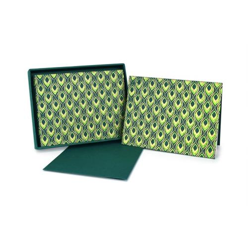 Mini Feathers Green Note Cards Set o
